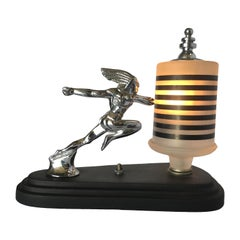 Art Deco Pontiac Running Red Indian Hood Ornament Lamp
