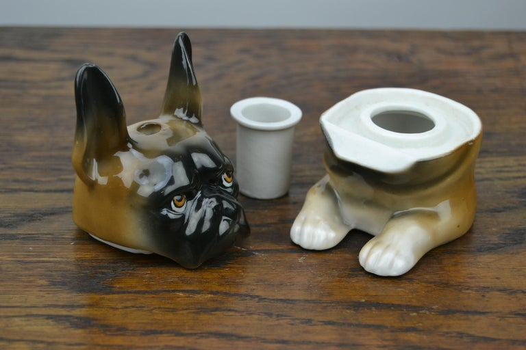 Art Deco Porcelain Bulldog Inkwell, Germany For Sale 10