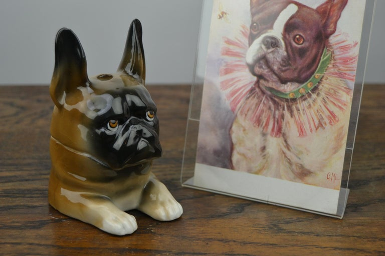 Art Deco Porcelain Bulldog Inkwell, Germany For Sale 13