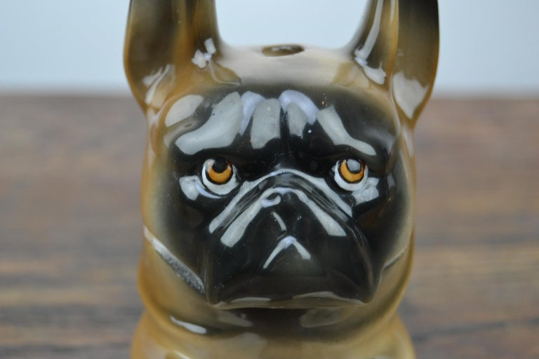 Who doens't want to have this cutie on his desk? A porcelain French Bulldog Inkwell - Frenchie Statue. This Animal Inkwell - Dog Inkwell is a brown with black dog, speaking big tri- colored eyes and two long ears. This dog figurine - animal