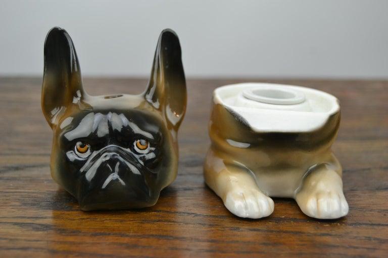 20th Century Art Deco Porcelain Bulldog Inkwell, Germany For Sale