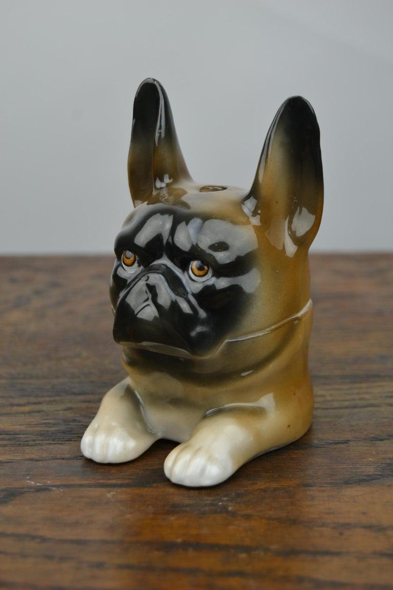 Art Deco Porcelain Bulldog Inkwell, Germany For Sale 1