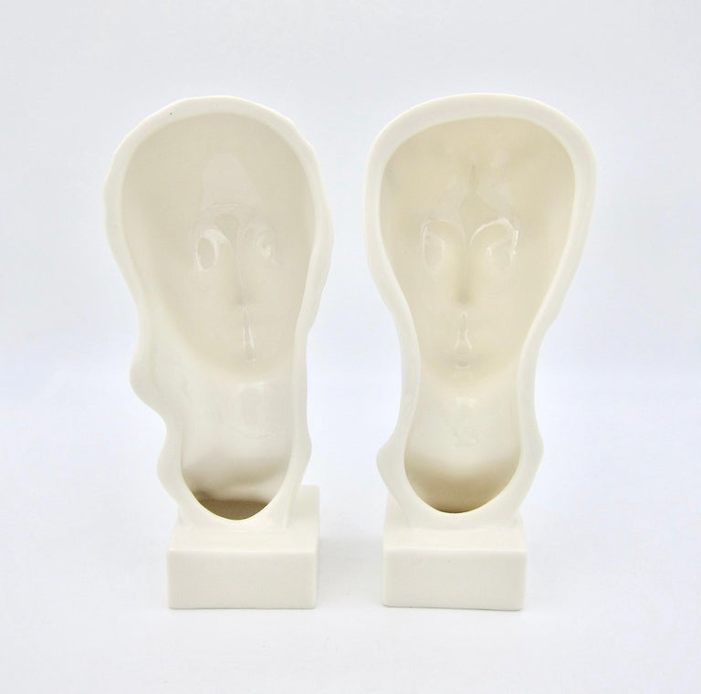 Art Deco Porcelain Bust Pair by Geza de Vegh for Lenox  For Sale 6