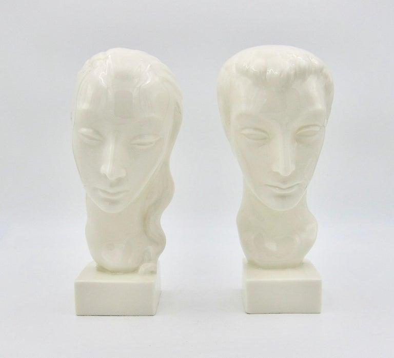 American Art Deco Porcelain Bust Pair by Geza de Vegh for Lenox  For Sale