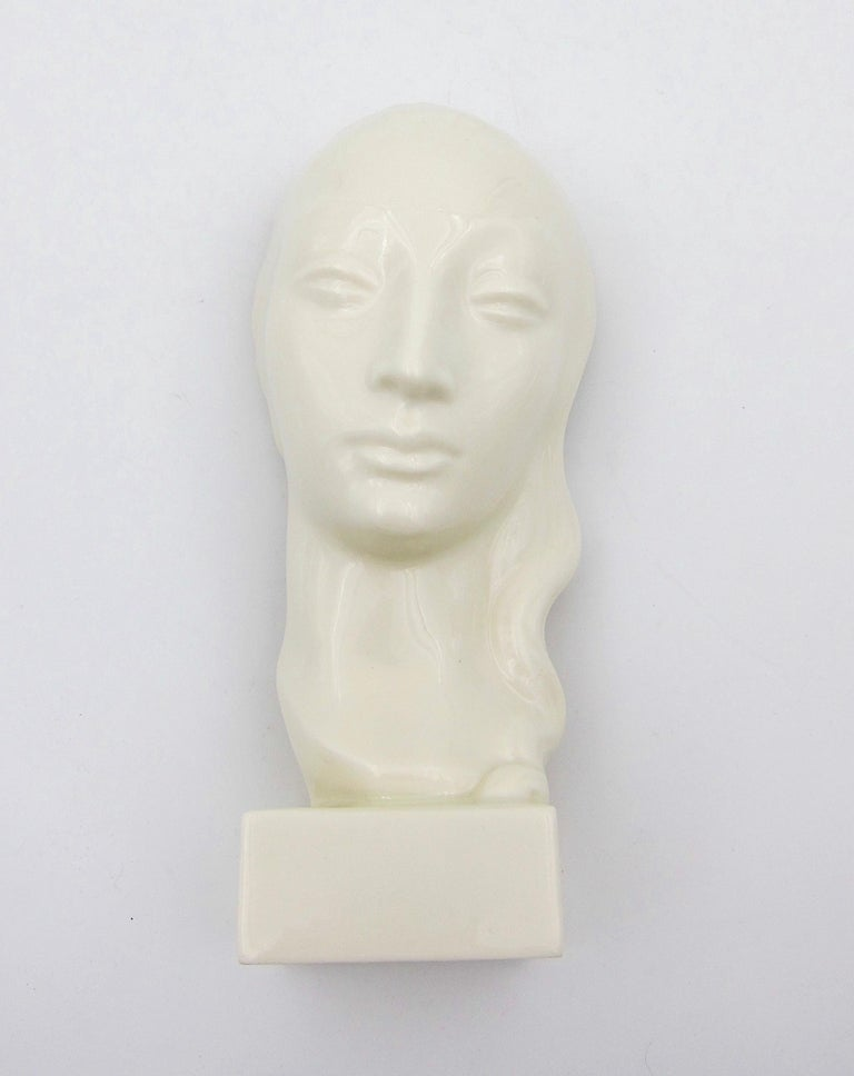 Art Deco Porcelain Bust Pair by Geza de Vegh for Lenox  In Good Condition For Sale In Los Angeles, CA