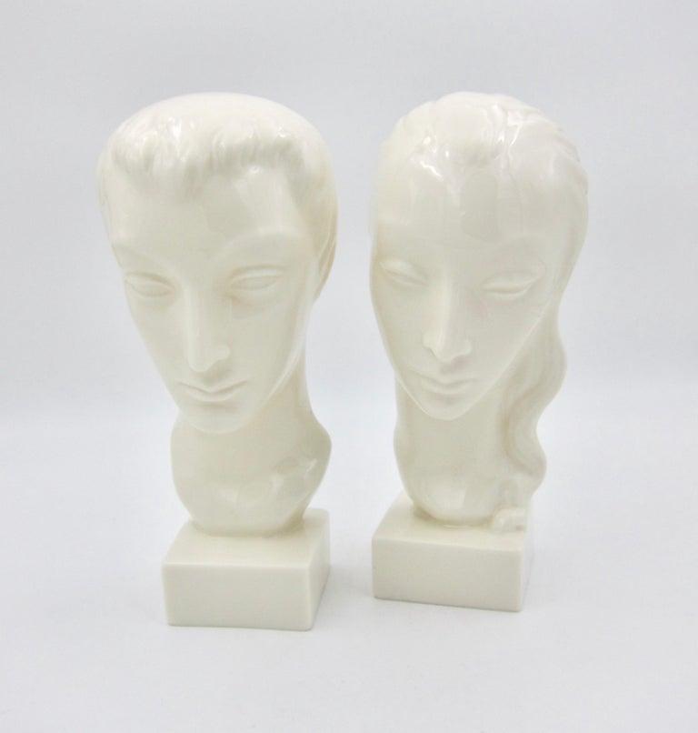 Ceramic Art Deco Porcelain Bust Pair by Geza de Vegh for Lenox  For Sale