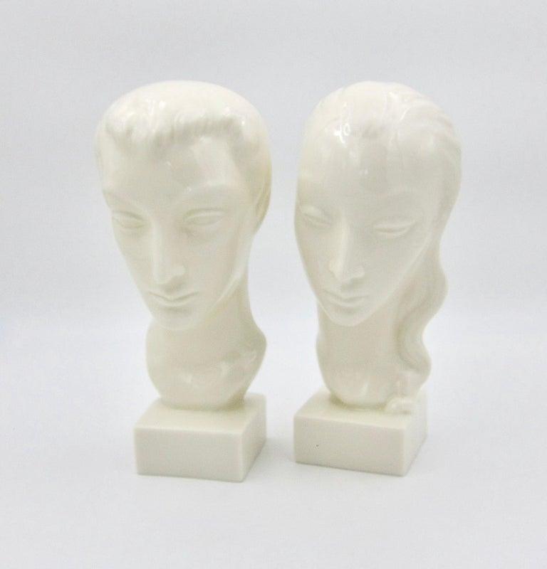 Art Deco Porcelain Bust Pair by Geza de Vegh for Lenox  For Sale 1