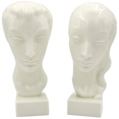 Art Deco Porcelain Bust Pair by Geza de Vegh for Lenox