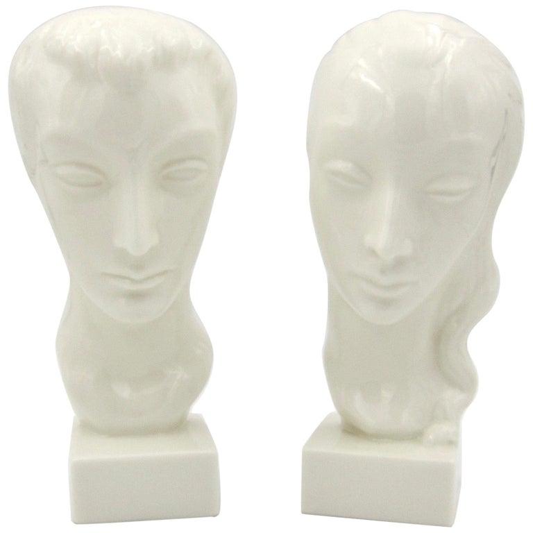 Art Deco Porcelain Bust Pair by Geza de Vegh for Lenox  For Sale