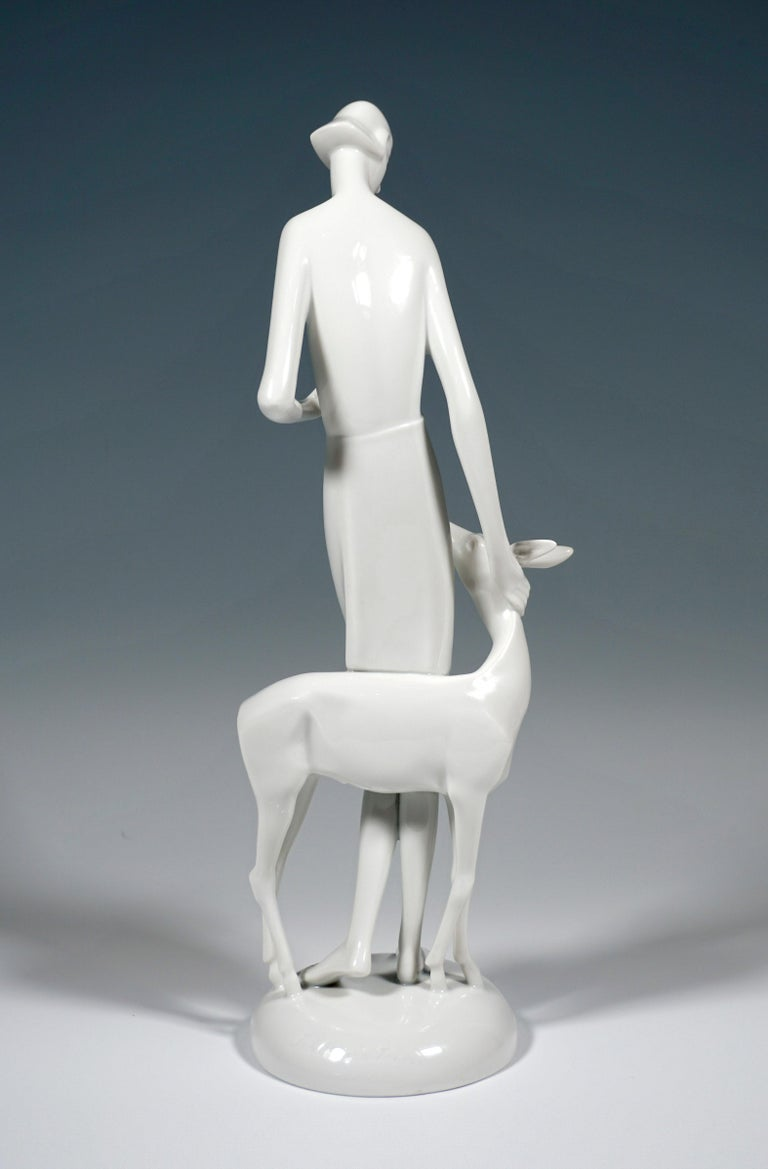 Art Deco Art Déco Porcelain Figure 'Girl With Deer' by Schliepstein, Rosenthal Germany For Sale