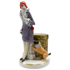 Art Deco Porcelain Flapper Girl Half Doll Dresser Powder/ Trinket Box circa 1930
