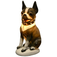Art Deco Porcelain French Bulldog, Boston Terrier Perfume Lamp, Germany, 1930s