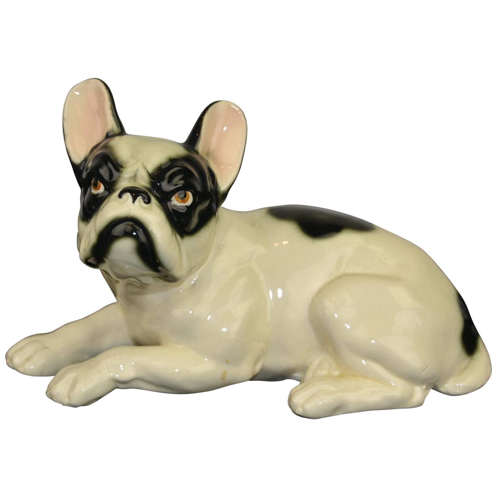 Art Deco Porcelain French Bulldog, Germany, 1930s