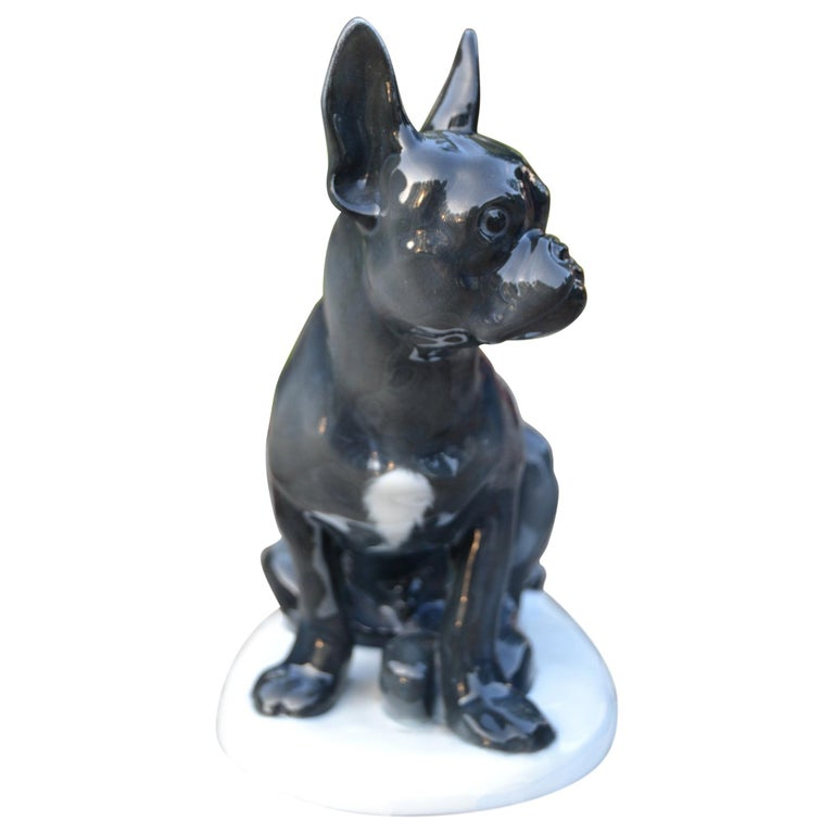 Art Deco Porcelain French Bulldog by Otto Thiem, Fraureuth Germany, 1920s For Sale