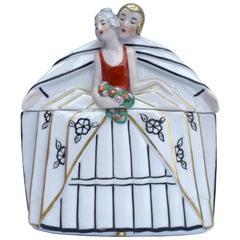 Art Deco Porcelain Powder Box, German, circa 1930
