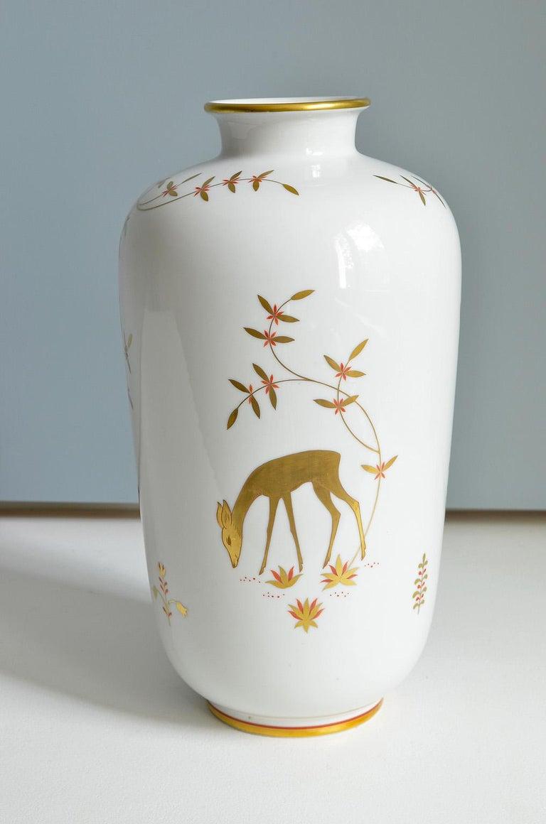 Art Deco Porcelain Vase by Greiner for Heinrich Selb Bavaria Germany Gold/White 2