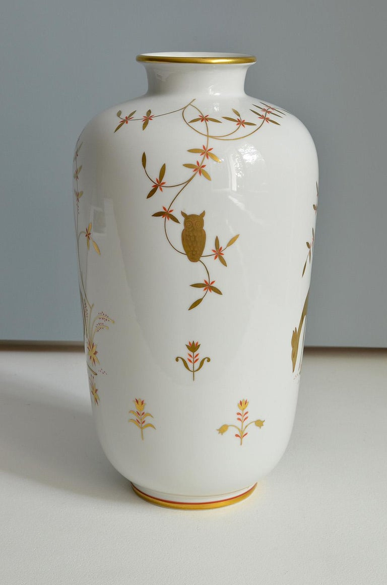 Art Deco Porcelain Vase by Greiner for Heinrich Selb Bavaria Germany Gold/White 3