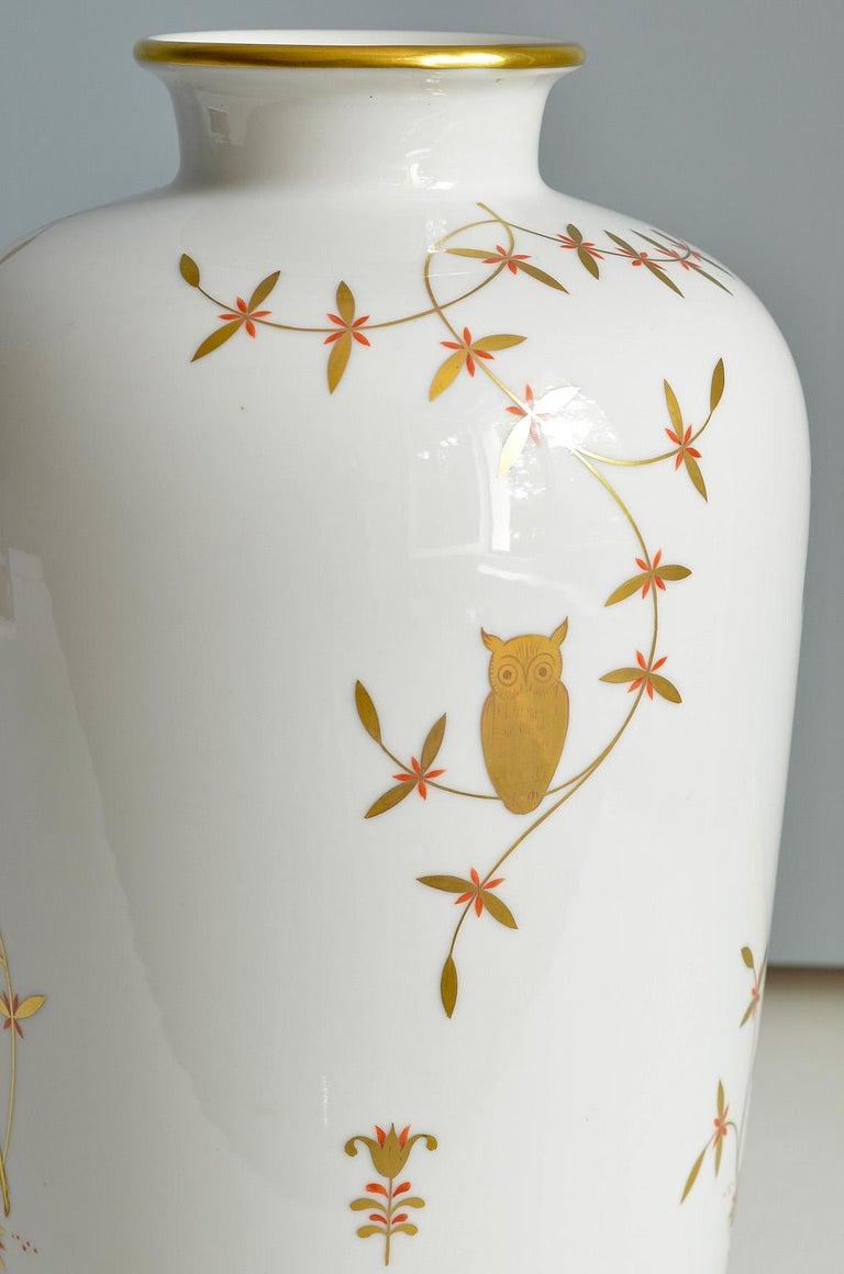 Art Deco Porcelain Vase by Greiner for Heinrich Selb Bavaria Germany Gold/White 4