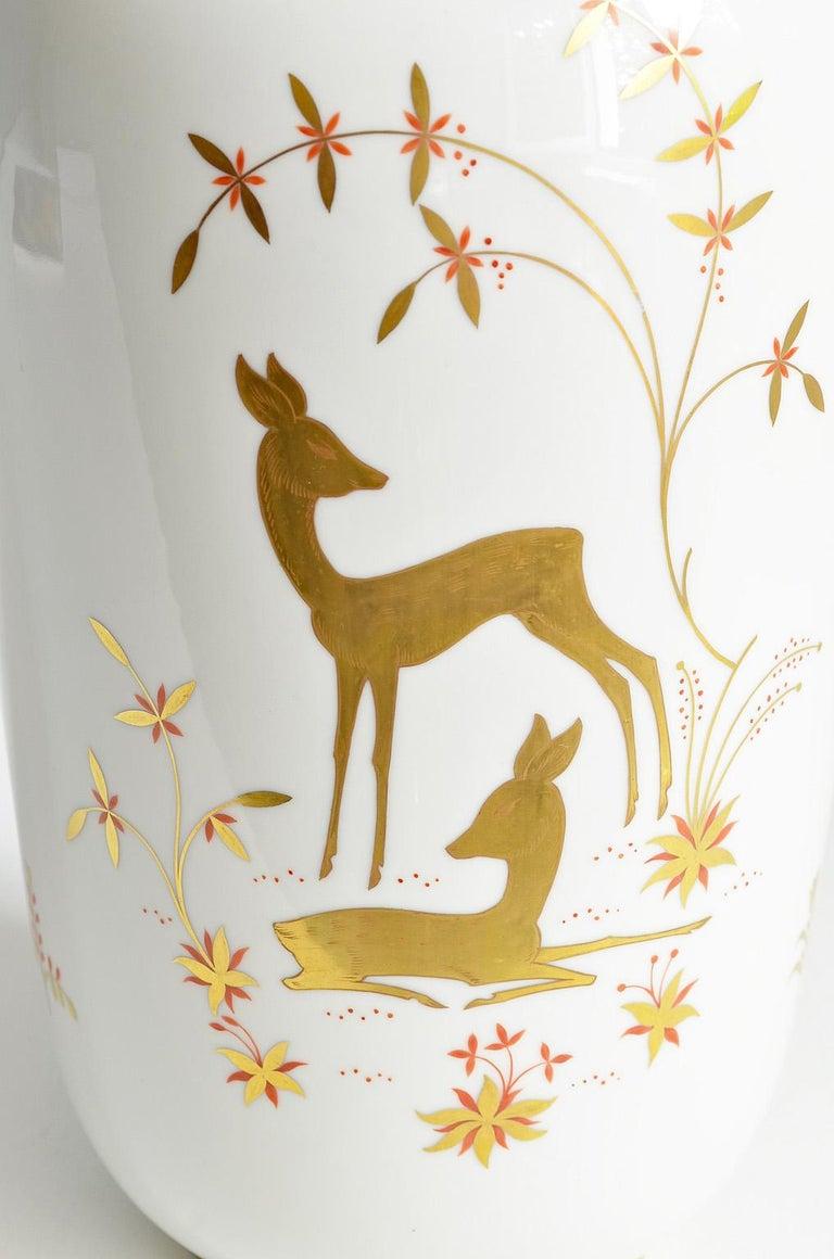 Art Deco Porcelain Vase by Greiner for Heinrich Selb Bavaria Germany Gold/White 5