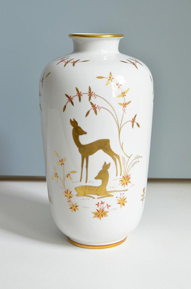 Art Deco Porcelain Vase by Greiner for Heinrich Selb Bavaria Germany Gold/White 7