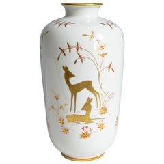 Art Deco Porcelain Vase by Greiner for Heinrich Selb Bavaria Germany Gold/White