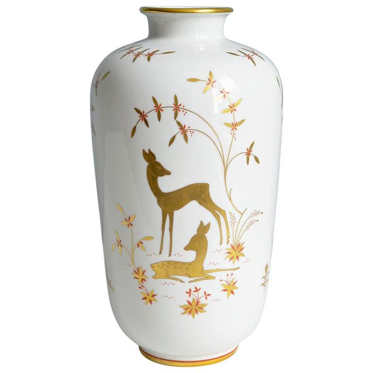Art Deco Porcelain Vase by Greiner for Heinrich Selb Bavaria Germany Gold/White 1