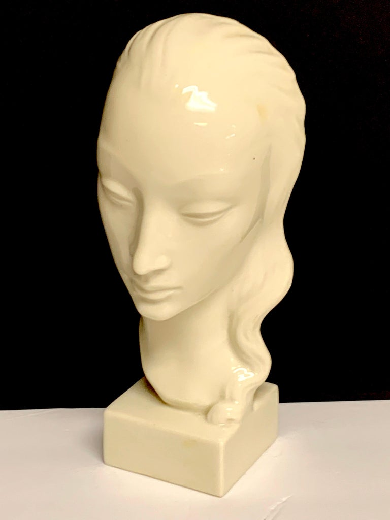 Art Deco Portrait Bust of a Woman, Geza De Vegh for Lenox In Good Condition For Sale In West Palm Beach, FL