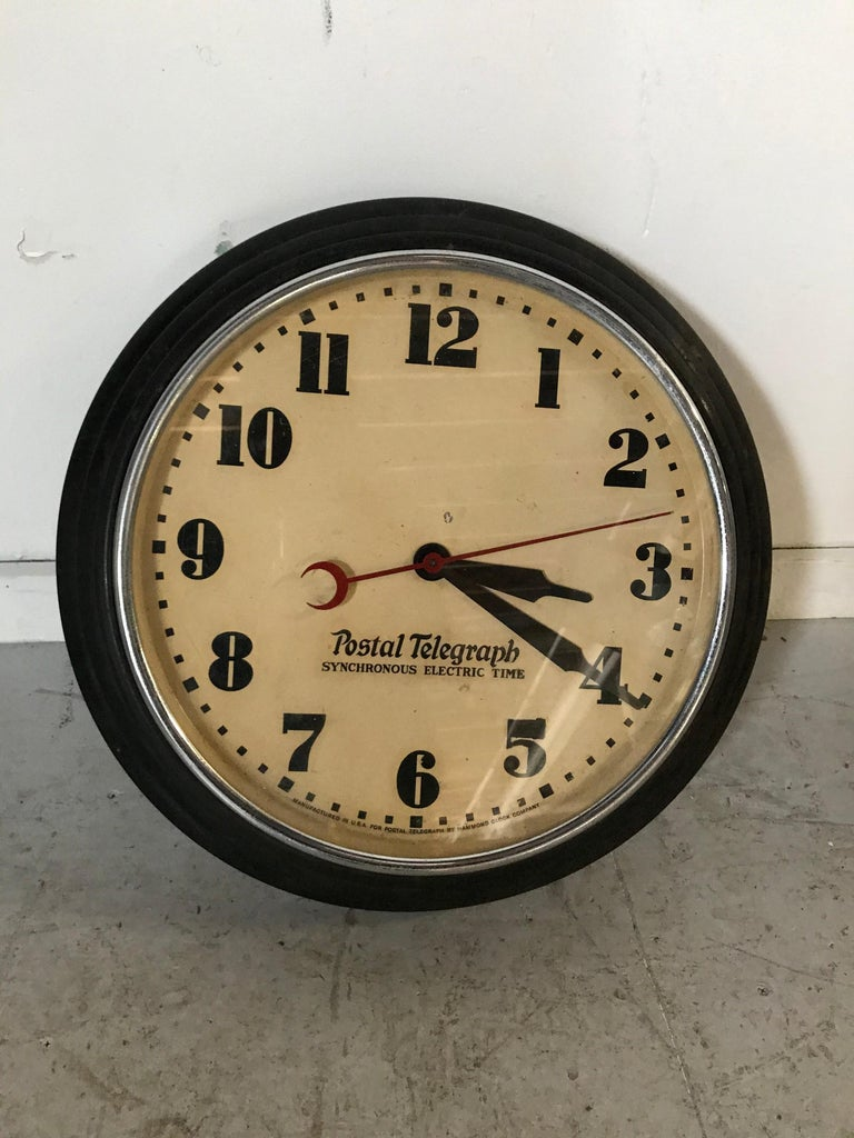 Mid-20th Century Art Deco Postal Telegraph Wall Clock, Synchronous Hammond Clock Co. For Sale