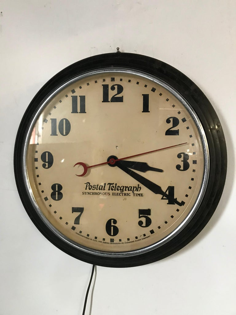 Metal Art Deco Postal Telegraph Wall Clock, Synchronous Hammond Clock Co. For Sale