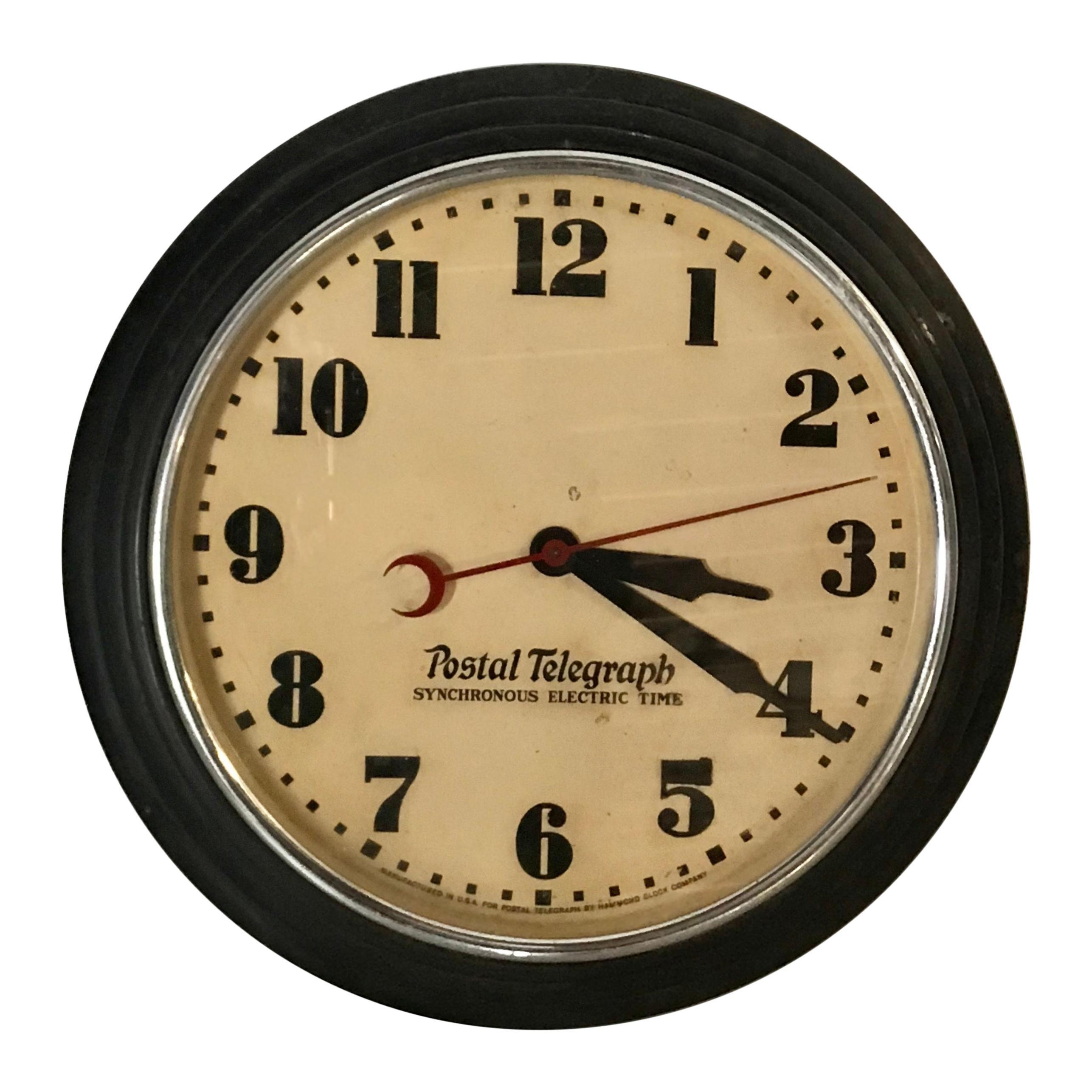 Art Deco Postal Telegraph Wall Clock, Synchronous Hammond Clock Co.
