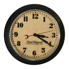 Art Deco Postal Telegraph Wall Clock, Synchronous Hammond Clock Co.