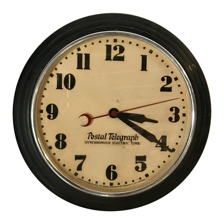 Art Deco Postal Telegraph Wall Clock, Synchronous Hammond Clock Co. For Sale
