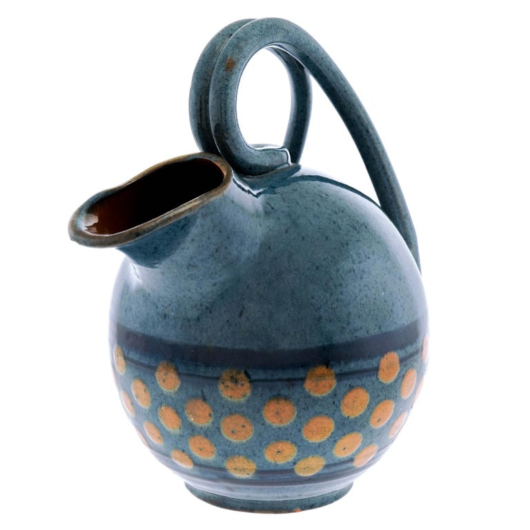 French Art Deco Pottery Pitcher by Paul Jacquet For Sale