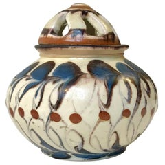 Art Deco Pottery Potpourri Vessel by Herman A. Kähler for Kähler, Denmark, 1920s