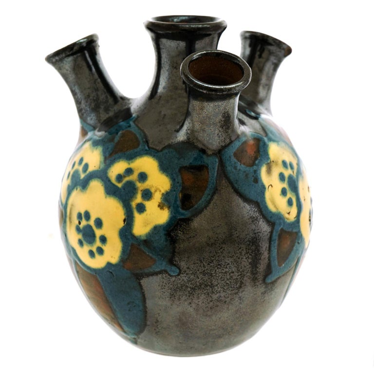 French Art Deco Pottery Vase by Paul Jacquet