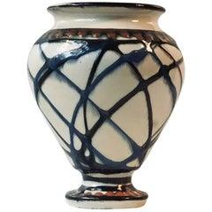 Art Deco Pottery Vase with Swirl Glazes by Herman August Kähler, Denmark, 1920s