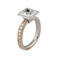 Art Deco Princess cut Diamond Ring in Rose Gold by Zoltan David