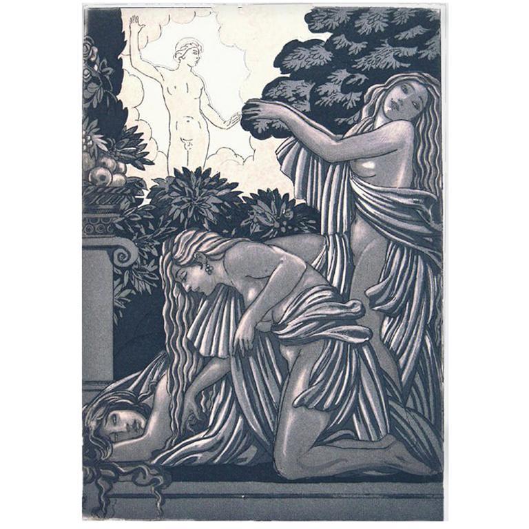 """Art Deco Print by Maurice de Becque for """"Sonnica la Courtisane"""""""