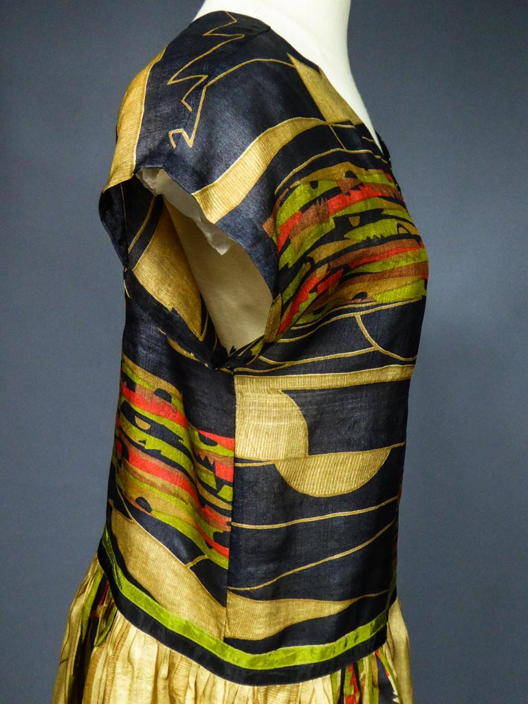 Art Deco Printed Dress Sonia Delaunay or Russian Ballet inspiration Circa 1920 For Sale 5