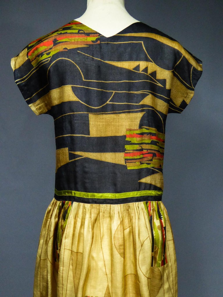 Art Deco Printed Dress Sonia Delaunay or Russian Ballet inspiration Circa 1920 For Sale 7