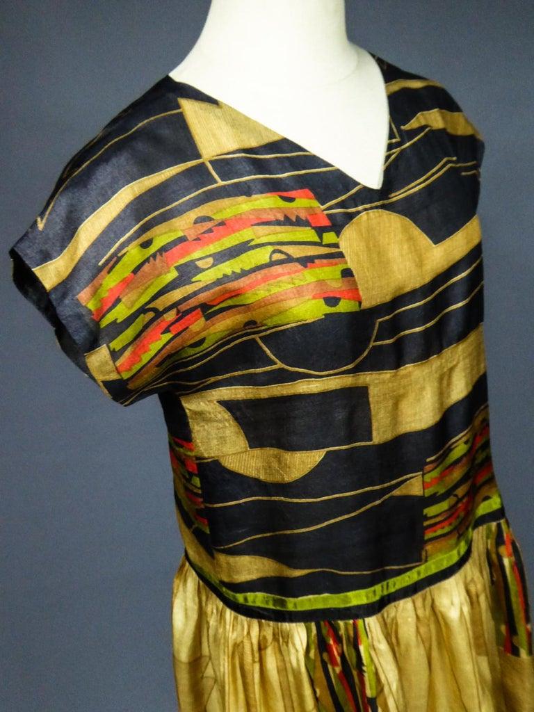 Art Deco Printed Dress Sonia Delaunay or Russian Ballet inspiration Circa 1920 10