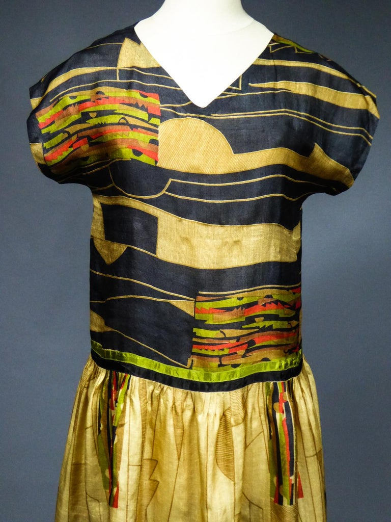 Brown Art Deco Printed Dress Sonia Delaunay or Russian Ballet inspiration Circa 1920 For Sale