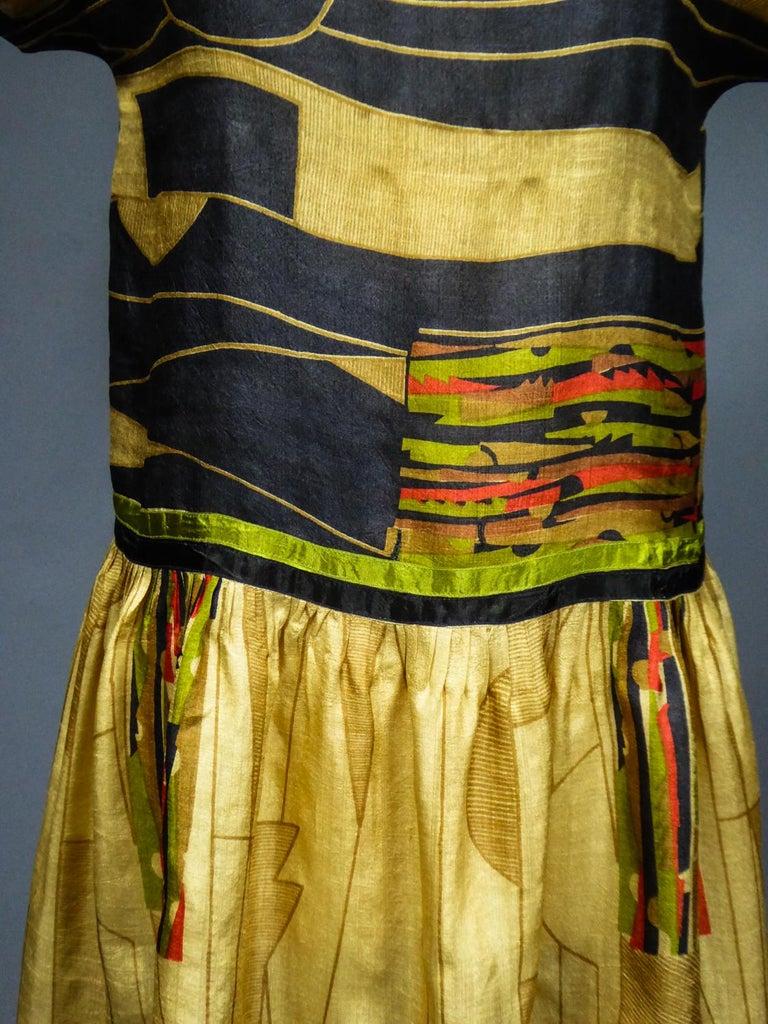 Women's Art Deco Printed Dress Sonia Delaunay or Russian Ballet inspiration Circa 1920