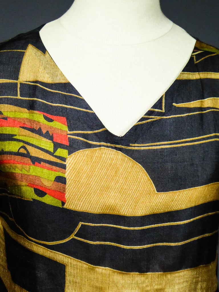 Art Deco Printed Dress Sonia Delaunay or Russian Ballet inspiration Circa 1920 For Sale 1