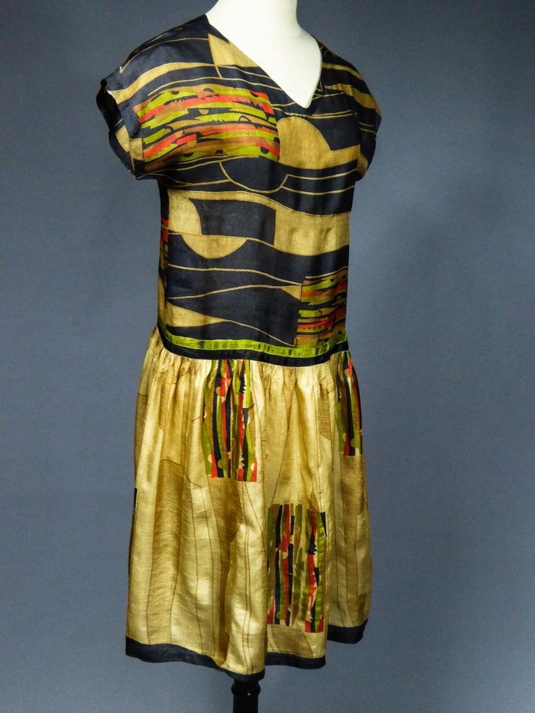 Art Deco Printed Dress Sonia Delaunay or Russian Ballet inspiration Circa 1920 For Sale 2
