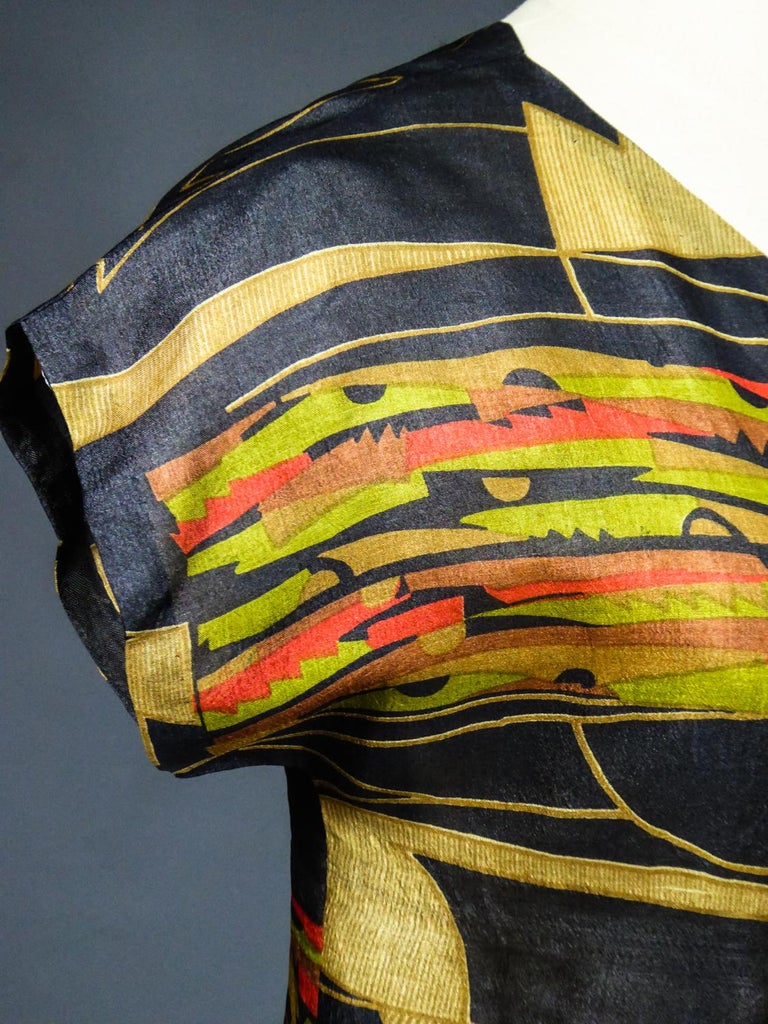 Art Deco Printed Dress Sonia Delaunay or Russian Ballet inspiration Circa 1920 For Sale 4