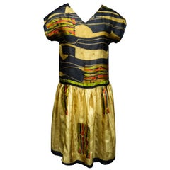 Art Deco Printed Dress Sonia Delaunay or Russian Ballet inspiration Circa 1920