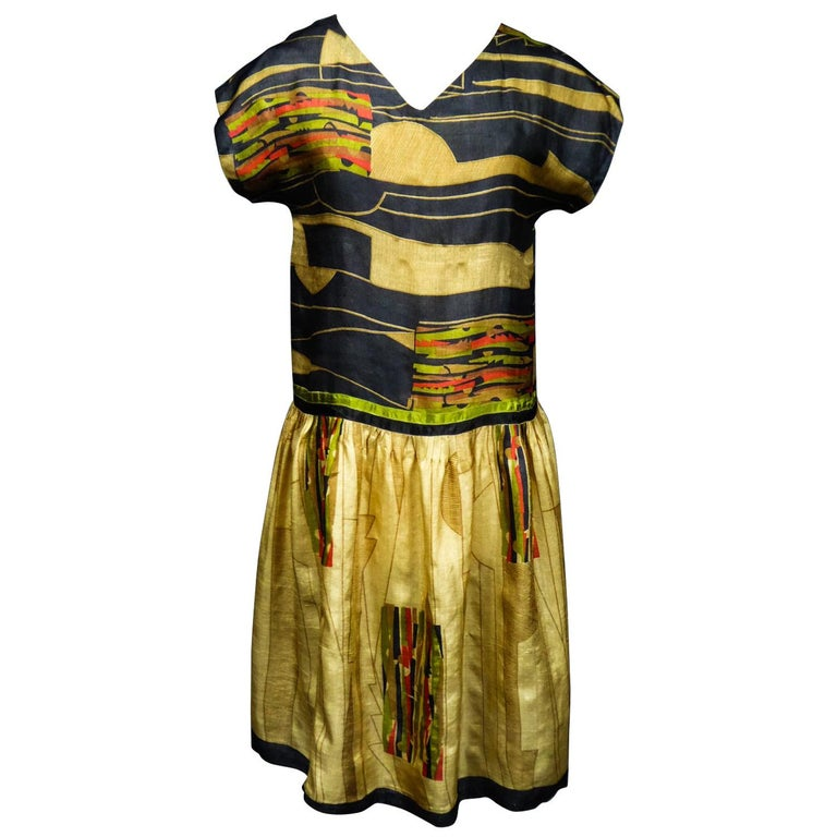 Art Deco Printed Dress Sonia Delaunay or Russian Ballet inspiration Circa 1920 For Sale