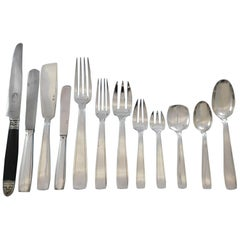 Art Deco Puiforcat French 950 Sterling Silver Flatware Set Dinner Service 125 Pc