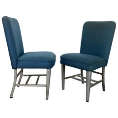 Art Deco Pullman Dining Car Chairs, Aluminum and Fabric, Attributed to Emeco
